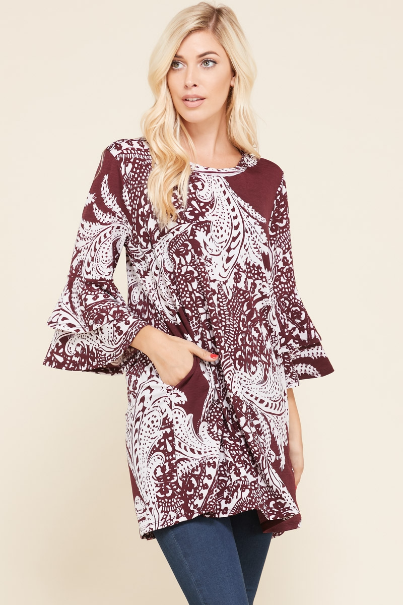 PAISLEY TIER RUFFLE POCKET TUNIC  - orangeshine.com