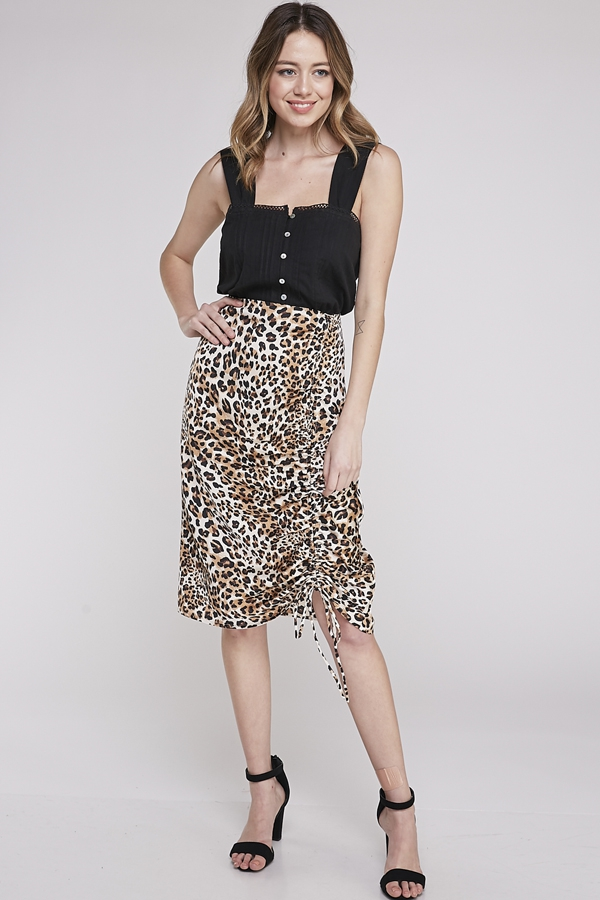 ANIMAL PRINTS RUCHED  SKIRT - orangeshine.com