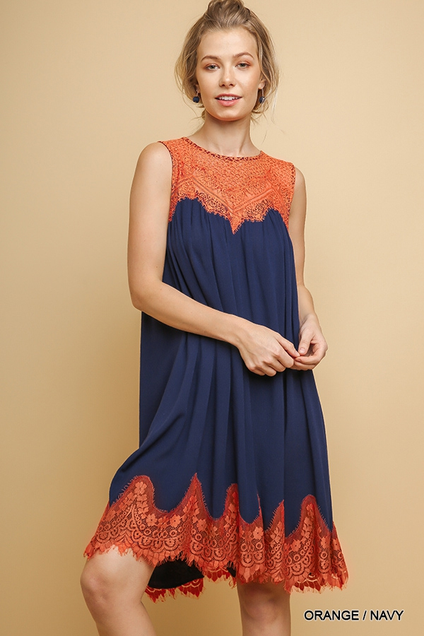 Sleeveless A-Line Dress with Lace - orangeshine.com