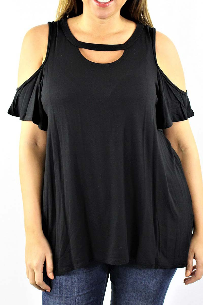 SHORT SLEEVE COLD SHOULDER PLUS TOP - orangeshine.com
