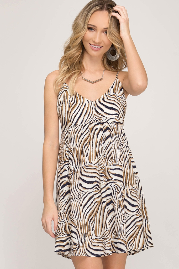 CAMI WOVEN PRINT DRESS - orangeshine.com
