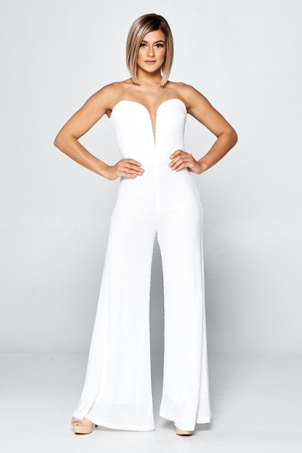 Stripeless Sequin Jumpsuit - orangeshine.com