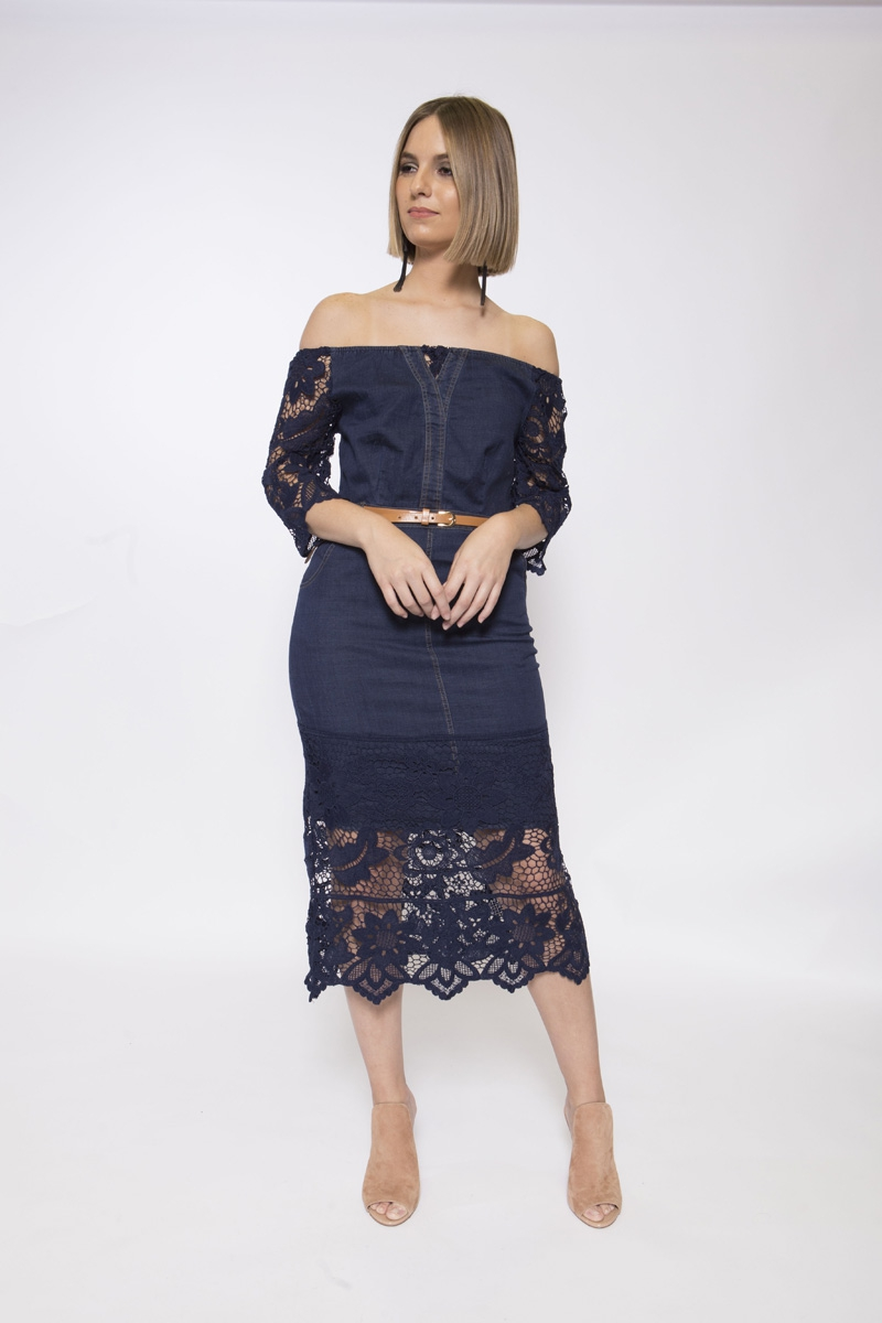 off-shoulder denim lace belted dress - orangeshine.com