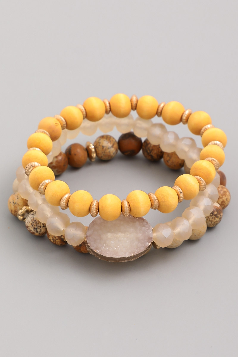 Beaded Natural Stone Bracelet - orangeshine.com
