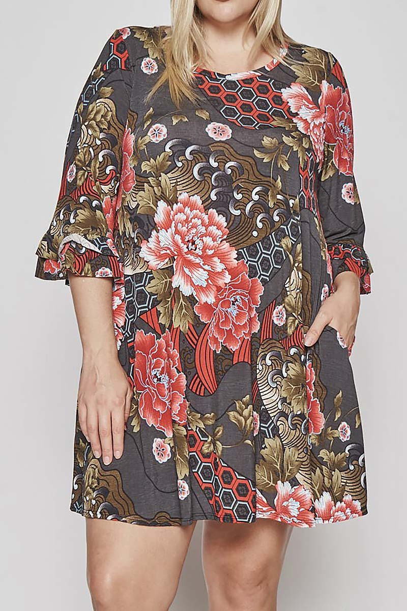 FLORAL PRINT POCKET PLUS DRESS  - orangeshine.com