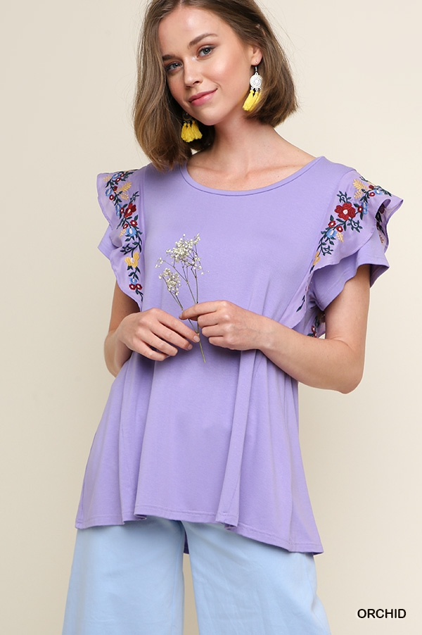 Ruffled Floral Embroidered Top - orangeshine.com