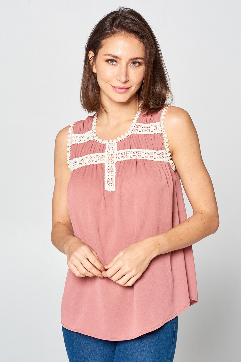 Solid Crochet Insert Sleeveless Top  - orangeshine.com