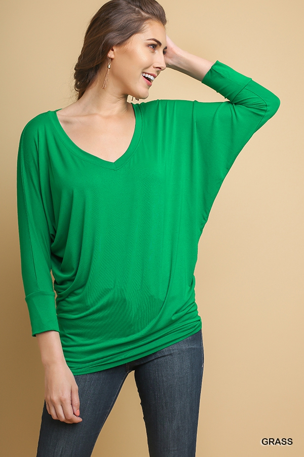 Basic V-Neck Batwing Top  - orangeshine.com