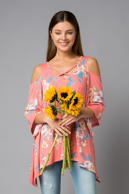 Floral Open Shoulder Tunic - orangeshine.com