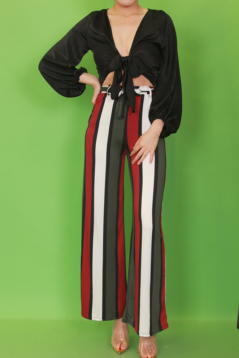 HIGH WAIST STRIPED WIDE LEG PANTS - orangeshine.com