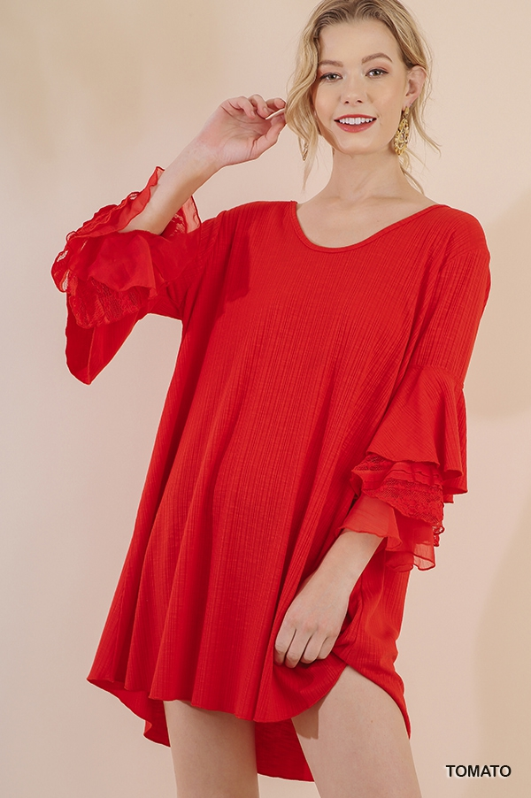 Layered Ruffle Sleeves Dress - orangeshine.com