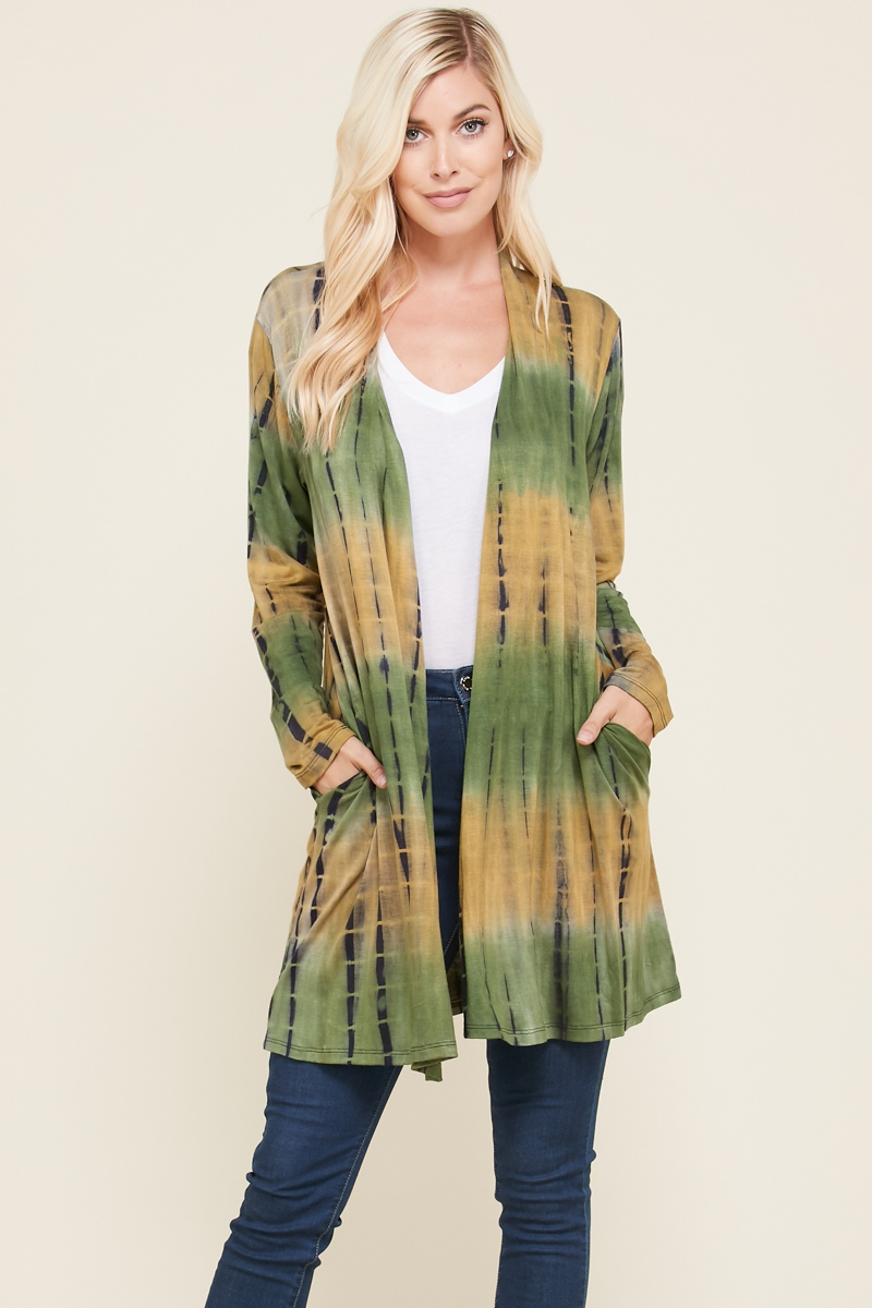 TIE DYE LONG SLEEVE CARDIGAN PLUS - orangeshine.com