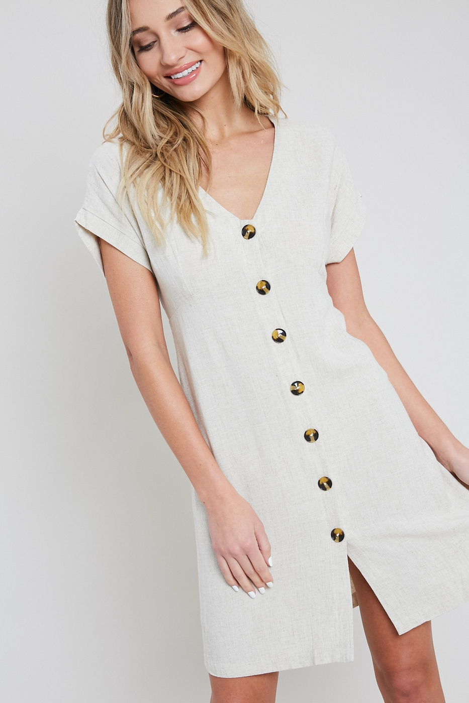 BUTTON DOWN MINI DRESS - orangeshine.com