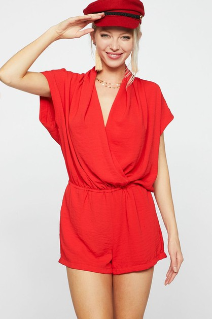 SHORT SLEEVE WOVEN ROMPER WITH WRAP - orangeshine.com