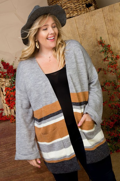 Stripe Open Front Oversized Cardigan - orangeshine.com