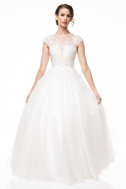 Short Sleeve Bridal Dress - orangeshine.com