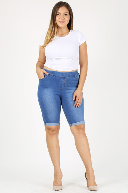Pull-on Bermuda Denim Shorts Jegging - orangeshine.com