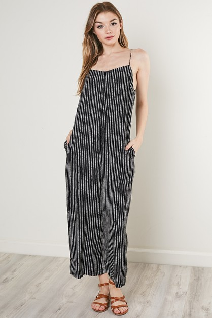 STRIPED STRAPPY JUMPSUIT - orangeshine.com