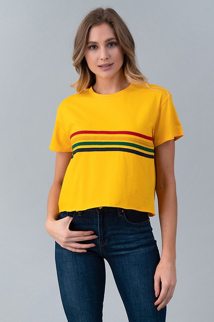 MULITI COLOR LINE ON CROP TOP - orangeshine.com