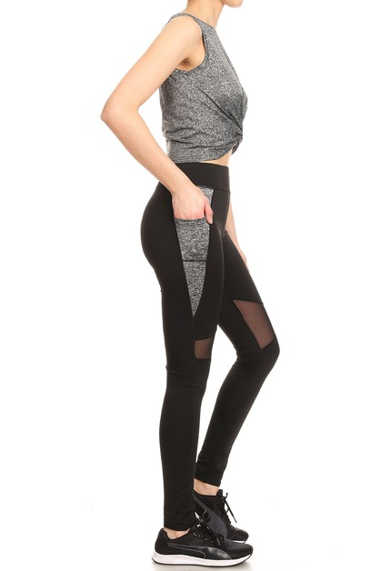 Active Sets Crop Tops Mesh leggings - orangeshine.com