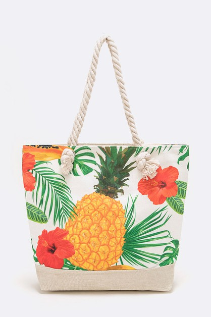 Pineapple Print Canvas Tote - orangeshine.com
