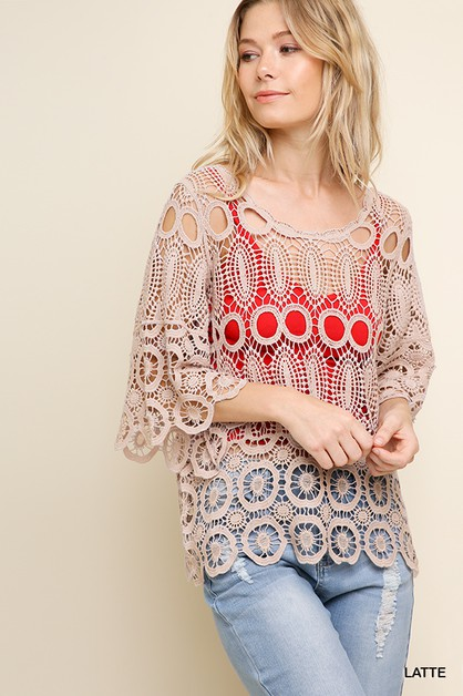 Crochet Scoop Neck Top - orangeshine.com