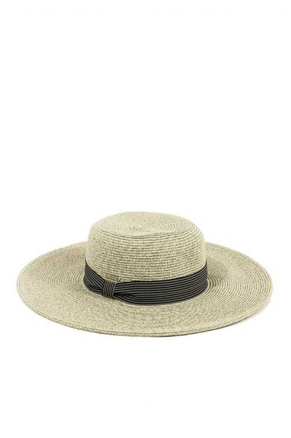 NATURAL FIBER STRIPE BAND FLOPPY HAT - orangeshine.com
