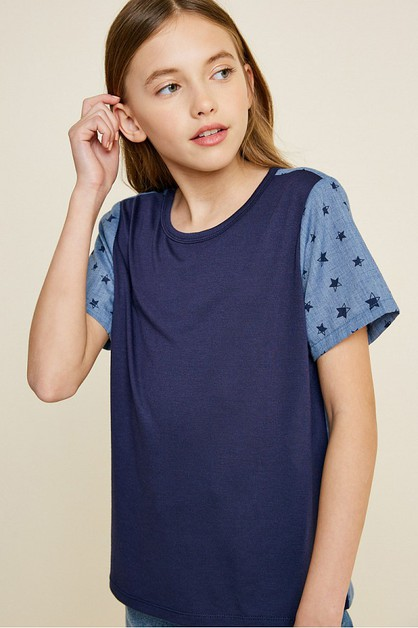 Short Sleeve Contrast Star Top - orangeshine.com