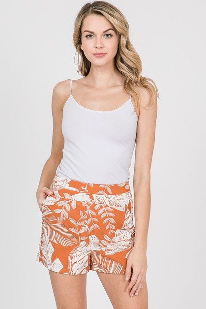 Leaf Printed Shorts - orangeshine.com