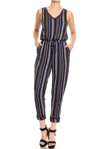 Boho Stripes Jumpsuits Crop Pockets - orangeshine.com