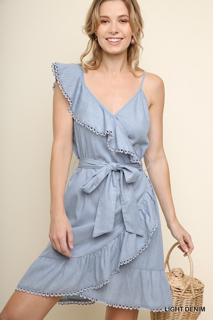 Denim One Ruffle Shoulder Dress  - orangeshine.com