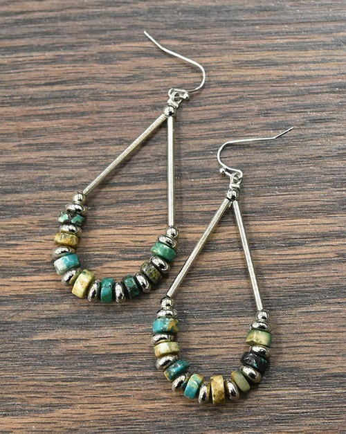 Heishi Natural Turquoise Earrings - orangeshine.com