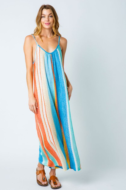 MULTICOLORED STRIPED JUMPSUIT  - orangeshine.com