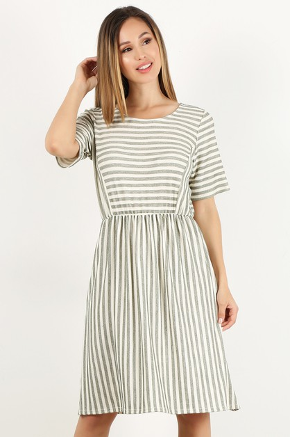 french terry stripe cinched dress - orangeshine.com