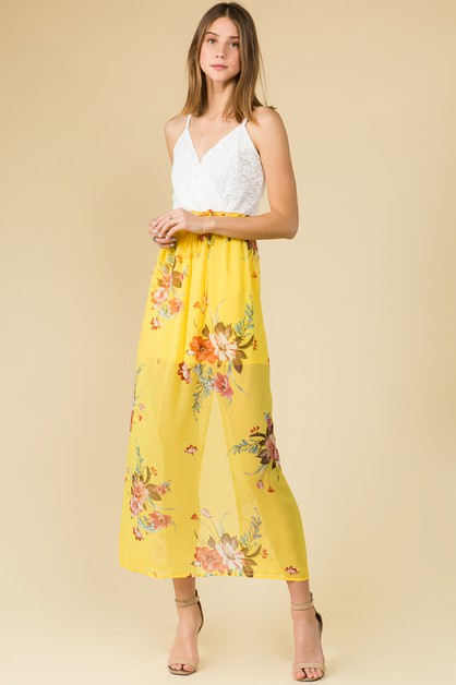 MAXI DRESS WITH YELLOW FLORAL - orangeshine.com