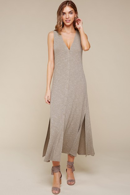 KNIT MELANGE BUTTON DOWN MIDI DRESS - orangeshine.com