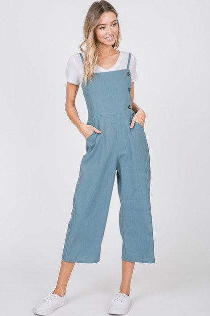 BUTTON FRONT SOLID LINEN JUMPSUIT - orangeshine.com