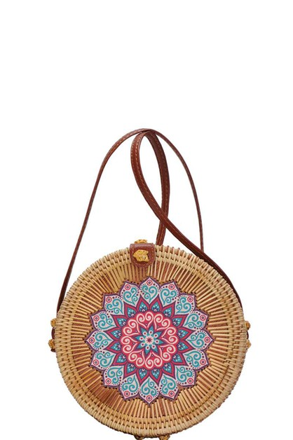 NATURAL WOVEN CIRCLE SHOULDER BAG - orangeshine.com