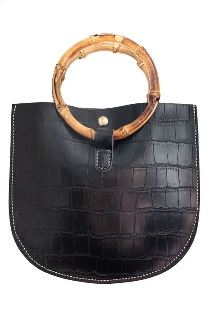 Faux Alligator and Bamboo Handle Bag	 - orangeshine.com
