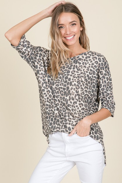 LOOSE FIT ANIMAL PRINT THERMAL TUNIC - orangeshine.com