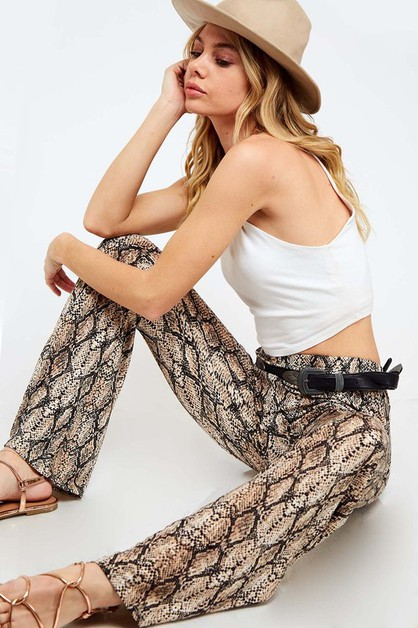 High Waist Snake Print Pants - orangeshine.com