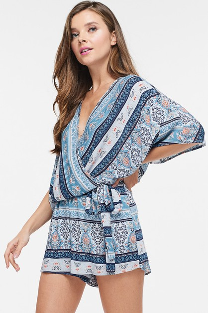 Surplice Crossed Print Woven Romper - orangeshine.com