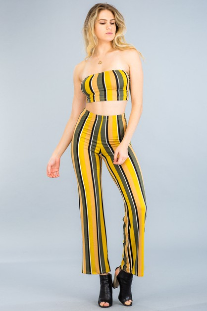 Cropped Tube Top & Pants Set - orangeshine.com