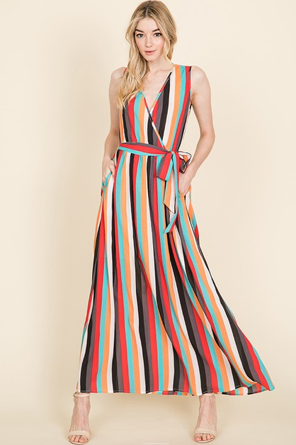 WARP STRIPED MAXI DRESS WITH POCKETS - orangeshine.com