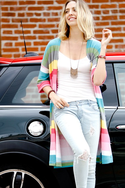 Multi colored striped cardigan - orangeshine.com