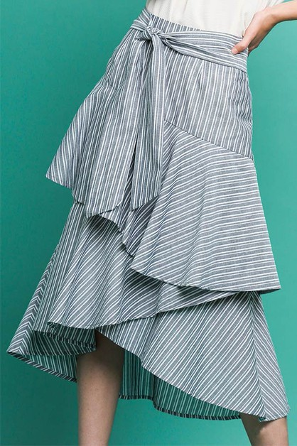 Stripe High Waist Ruffle Tier Skirt - orangeshine.com