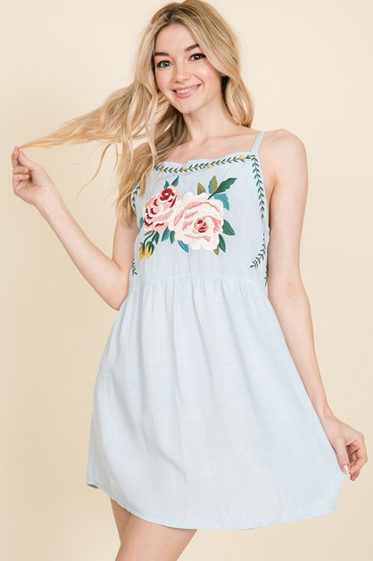 FLORAL EMBROIDERED BABYDOLL DRESS - orangeshine.com