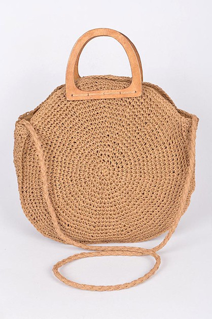 Wooden Handle Round Straw Bag - orangeshine.com