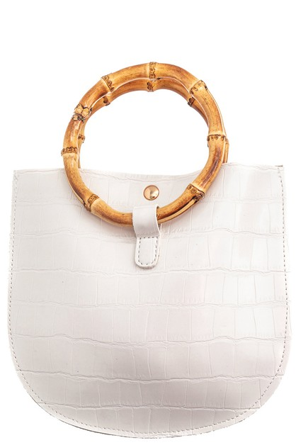 Round Faux Alligator Skin Bag - orangeshine.com