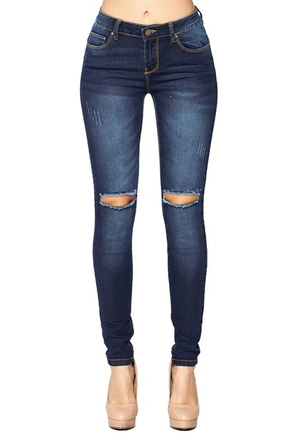 Knee Ripped Skinny Jeans BETTER BUTT - orangeshine.com
